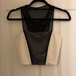 White and black crop top